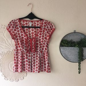 Odille polka dot ruffle button front red white top